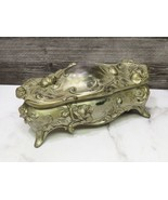 WB Mfg Co Weidlich Brothers Raised Roses Metal JEWELRY CASKET Footed Glo... - $43.56
