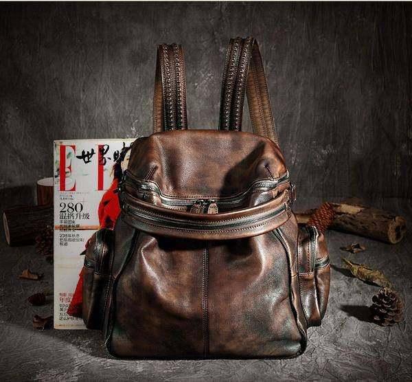 Sale, Vintage Leather Women Backpack, Leather School Backpack, Leather Designer