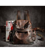 Sale, Vintage Leather Women Backpack, Leather School Backpack, Leather D... - $180.00