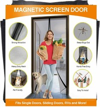 Reinforced Fiberglass Magnetic Screen Door Heavy Duty Mesh Curtain - $25.64