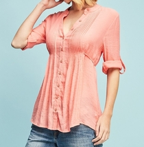 Crinkle Button Down Blouse, Pin Tucked Detailing, Lightweight, Coral