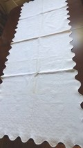 Antique Vintage Top Pillow cover or Table Runner White Cotton Scalloped ... - $64.35