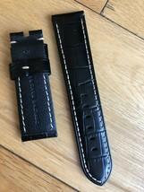 Genuine Officine Panerai 24mm Lug Black Calf Leather Croc effect  Watch ... - $114.49