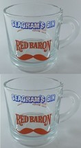 Seagram's Gin RED BARON Red Mustache Clear Mugs Set of 2 w/ Recipe on Back - $9.49
