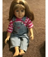 """1997 MY TWINN POSEABLE DOLL 23"""" BLONDE HAIR BLUE EYES W/ CLOTHES Overalls - $84.14"""