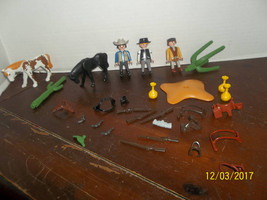lot of geobra playmobil spare replacement parts pieces people guns bank ... - $24.99