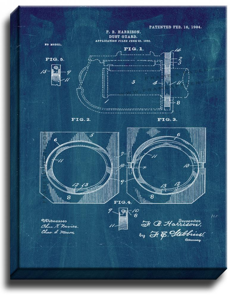 Primary image for Dust Guard Patent Print Midnight Blue on Canvas