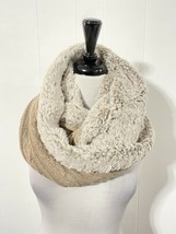 NEW Anthropologie Madison 88 Gray PINK SPARKLE Infinity Scarf Faux Fur - $28.49