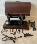 "Antique Eldredge Model ""B"" Portable Sewing Machine w/ Wooden Cover RARE ... - $395.99"
