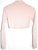 Boohoo Pink Dusty Rose Ribbed Knit Crop Pullover Sweater w Zipper US 2 UK 6 image 2