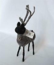 Wool Wire Reindeer Figure Black Grey Deer 8 x 4 Xmas Winter Deer Prim Pu... - $10.89