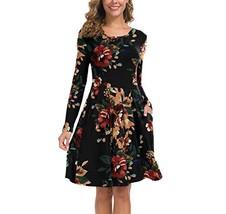 KORSIS Women's Long Sleeve Pleated Loose Swing Casual Dress Brown Flower Black 2 - $37.71