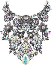 EVER FAITH Women's Crystal Vintage Flower Teardrop Necklace Iridescent C... - $71.95