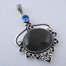 Botswana Agate-Blue Quartz Silver Overlay Pendant Jewelry 13 Gr. F-441-14_210 - $4.04