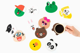 LINE FRIENDS Character 2 Faces Silicone Coaster 11 TYPES Official Goods - £14.10 GBP