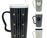 Set Of 4 Ceramic Tall Black & White Striped MUG Mix Lid & Spoon Tea Coffee Cups