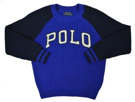 Polo Ralph Lauren Jungen Blau Zweiton Gestricktes Polohemd Rundhalsaussc... - $46.36