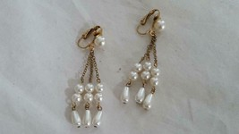 Vintage Grey Faux Pearl 3 Strand Dangle Clip On Earrings, Goldtone, Some Patina - $4.94