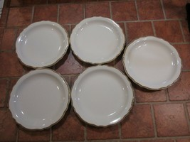 "5 Homer Laughlin 7 1/4"" Bread Salad Dessert Scalloped Plates Mustard Rim Egg - $18.80"