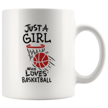 Just a Girl Who Loves Basketball 11oz Ceramic Coffee Mug Gift Red Text - $19.95