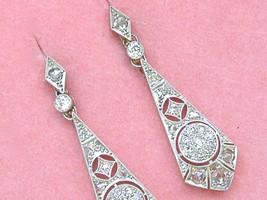 ANTIQUE ART DECO 1.5ctw MINE ROSE DIAMOND PLATINUM DANGLE COCKTAIL EARRI... - $3,424.41