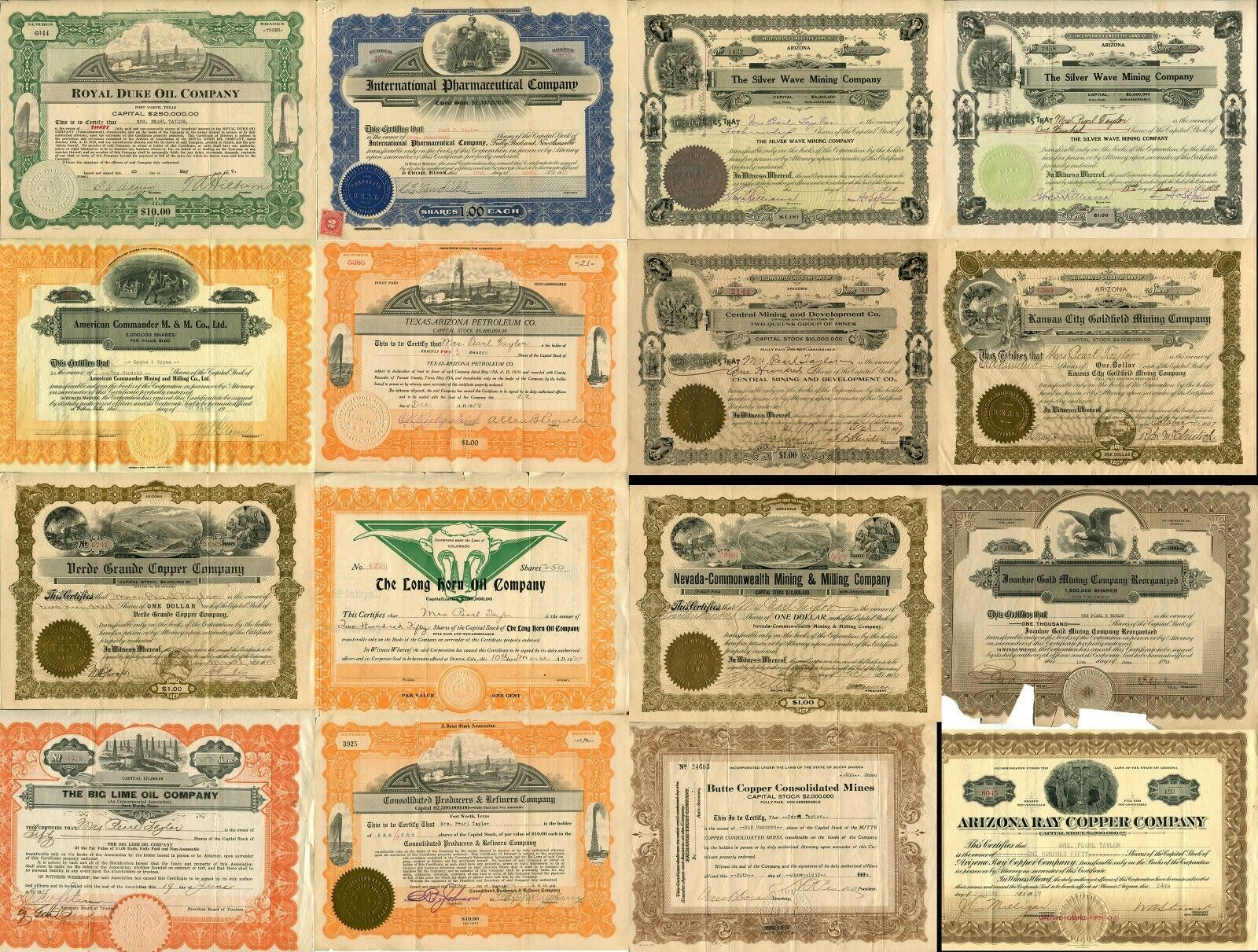 16 USA American Stock Share Certificate Oil Mining Pharmacy Company Collection