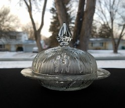 Jeanette Glass Herringbone & Iris Small Clear Butter Cheese Dish - $22.00