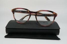 New Authentic Prada VPR 18S UEO-1O1 Clear Burgundy Havana Eyeglasses 52mm w/Case - $87.08