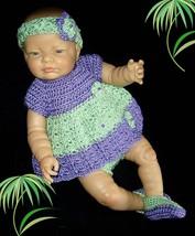 Handmade diaper dress set 0-3M crocheted in purple and apple green - $30.00
