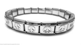 Peace Sign 9mm Italian Charm Shiny Stainless Steel Starter Bracelet - $8.90