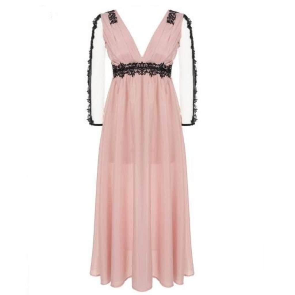 Pink Floral Lace Women Party Dress