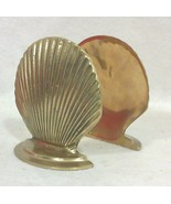 Vintage Hollywood Regency Coastal Brass Clam Shell Bookends-A Pair - $79.00