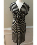 Max Studio Front Knot Knotted Black Tan Stripe Stretch Knit Dress Womens... - $21.75