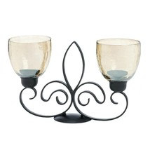 Table Candle Holders Centerpiece, Fleur De Lis Rustic Decorative Candle ... - $40.59