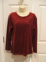NWOT STEPHANIE ANDREWS BURGUNDY VELVET LONG SLEEVE TOP SIZE  SMALL - $18.80
