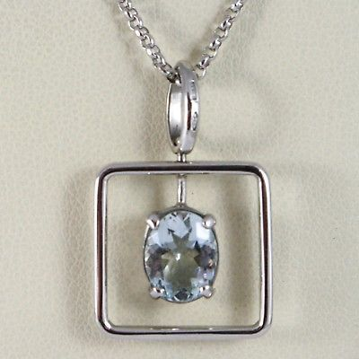 18K WHITE GOLD NECKLACE, OVAL CUT AQUAMARINE 1.80 ct PENDANT WITH SQUARE FRAME