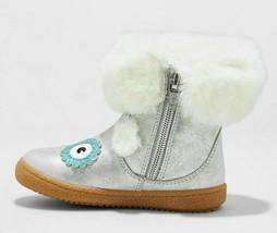 Cat & Jack Toddler Girls Tallis Glittery Silver Owl Fashion Boots Faux Fur 10 image 2