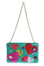 Dolce & Gabbana Blue Leather Heart Crystal Clutch Bag - $726.62