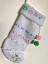 "Baby Girl Christmas Stocking Holiday Vintage Kurt Adler 10"" Pompoms Ribbon Lace - $24.08"
