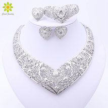 Jewelry Sets African Beads Heart Shaped Collar Statement Silver Plated Necklace  image 3