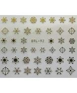 Nail Art 3D Decal Stickers Winter Snowflakes Gold Color - $5.92