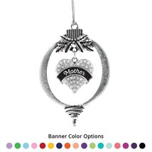 Inspired Silver Mother Pave Heart Holiday Ornament- Select Your Banner Color! - $14.69