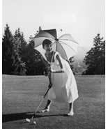 Audrey Hepburn Playing Golf Barefoot With Umbrella 16x20 Canvas Giclee - $69.99
