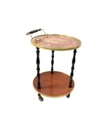 Vintage 60s Mid Century Modern MCM Wood Floral Brass Rolling Push Cart B... - $336.56