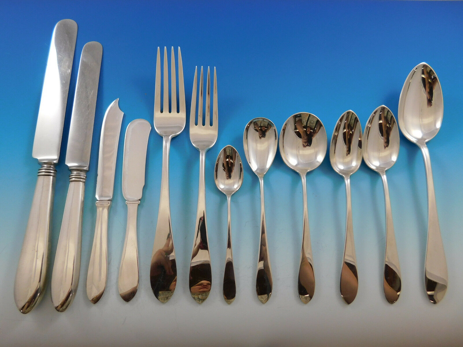Primary image for Pointed End by AJ Stone Sterling Silver Flatware Service Set Dinner 218 Pieces