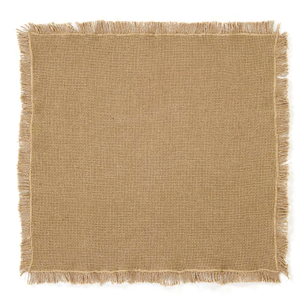 BURLAP NATURAL Tablemat Fringed - Set of 6 - 13x13 - Soft Cotton - VHC Brands