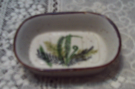 Vintage Green Fern Leaves Design Stoneware Soap Dish Retro Vanity - $10.25