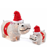 Lighted Fuzzy Hippos Set Sculpture Pre Lit Outdoor Christmas Decor Yard ... - $86.62