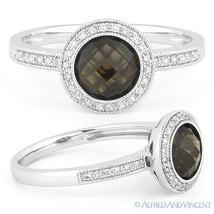 1.40 ct Smoky Topaz Gem Diamond Pave Engagement Ring 14k White Gold Halo... - £379.64 GBP