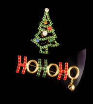 Vintage Christmas Tree brooch / ho ho ho bell brooch / Christmas gift for her /  image 3